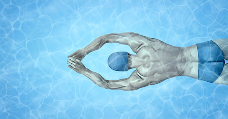 Healthy lifestyle. Fit swimmer training in the swimming pool. Professional male swimmer inside swimming pool. Texture of water surface. Pool water. Overhead view. Vector illustration background.
