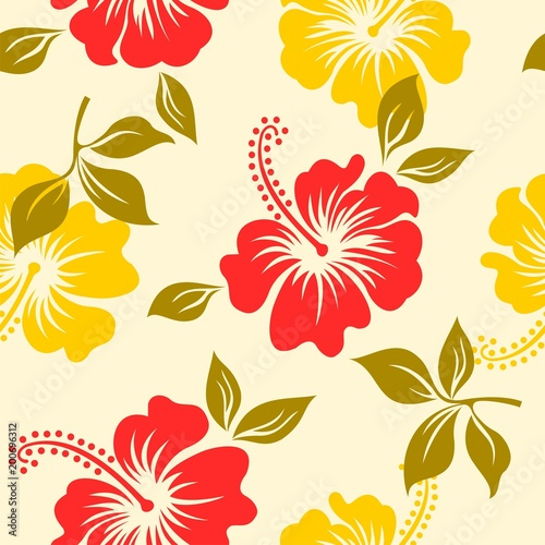 84560062aef0 Seamless pattern with hibiscus flower hawaii