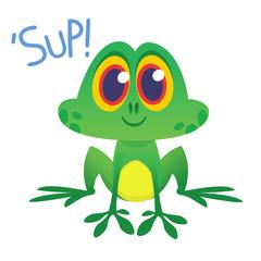 Funny Frog Cartoon Character saying 'Sup'. Vector illustration