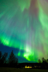 Northern lights aurora borealis landscape in Finland