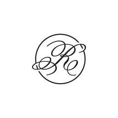 initial letter R logo script circle black