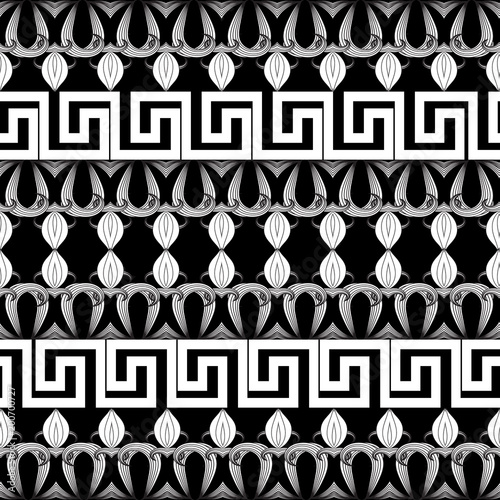 Greek Floral Meanders Seamless Border Pattern Vector Black And