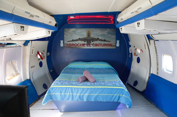 """A room is seen inside a plane at Motel """"Bahia"""" in Concon."""