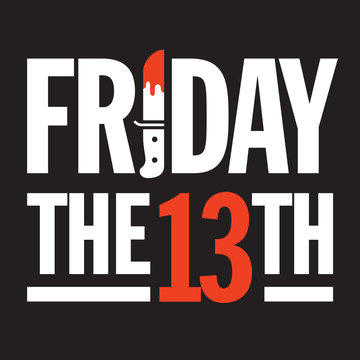 Friday the 13th Vector Design. Great graphic design element for Friday the 13th social media posts, advertising, and more with bloody dagger making the I in Friday.