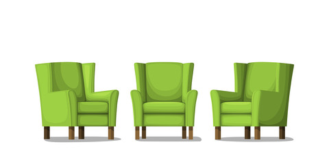 Three green armchairs. Isolated on white background. Vector Illustration.