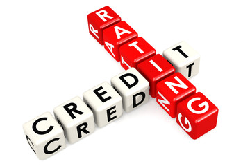 Credit rating buzzword in red and white