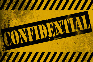 Confidential sign yellow with stripes