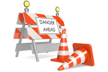 Danger ahead sign with traffic cones