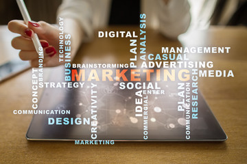 Marketing business concept on the virtual screen. Words cloud.