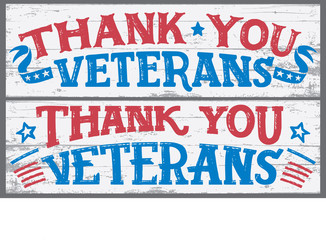 Thank you veterans. Veterans day hand lettering wood signs. National holiday vintage hand drawn typography design