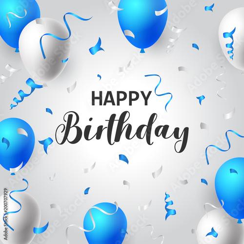 """Happy Birthday Balloons Typography Banner Background"