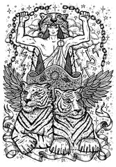 Tiger symbol. Chariot with athletic man, tiger beasts and mystic signs. Fantasy vector illustration for t-shirt, print, card, tattoo design. Zodiac animals signs of eastern calendar