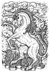 Horse symbol with four nature elements, fire, air, water and earth mystic signs. Fantasy vector illustration for t-shirt, print, card, tattoo design. Zodiac animals signs of eastern calendar