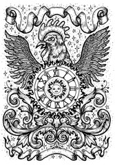 Rooster symbol with clock, sun, baroque decorations and vignette ribbons. Fantasy vector illustration for t-shirt, print, card, tattoo design. Zodiac animals signs of eastern calendar