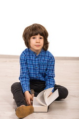 Smart casual boy with book