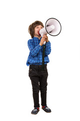 Boy making announcement by megaphone