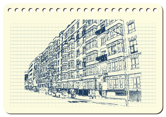 Graphic illustration with decorative architecture 1