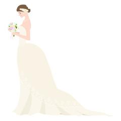 ブーケを持ったウェディングドレスの若い花嫁のイラスト。ジューンブライド。