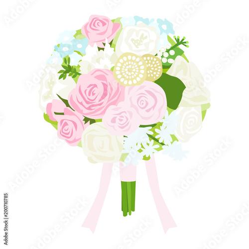 ウェディング用のブーケのイラスト。ピンク、黄色、水色の淡色花束。