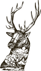 Stylized deer head with nature landscape vector ink hand drawn illustration