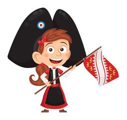 Petite alsacienne tenant le drapeau alsacien