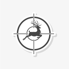 Hunting Season with Deer in gun sight sticker, simple vector icon