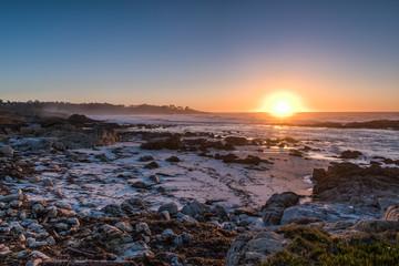 Colorful Sunset at Carmel Shore in California