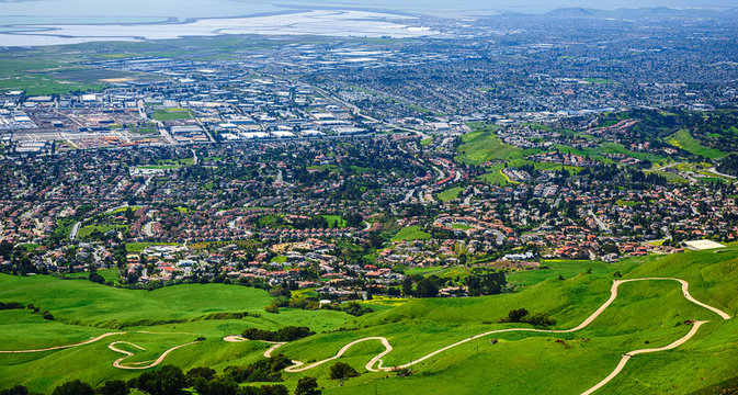 Bay, Fremont and Curvy Hiking Trail of Mission Peak, Silicon Valley, California