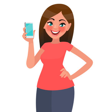 A beautiful woman is holding a smartphone. Vector illustration