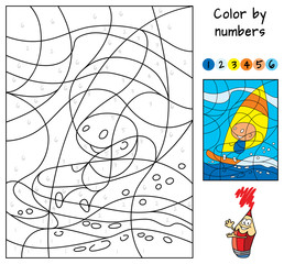 Windsurfing. Color by numbers. Educational puzzle game for children. Coloring book. Cartoon vector illustration