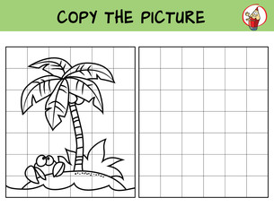 Small tropical island with coconut palm and crab. Copy the picture. Coloring book. Educational game for children. Cartoon vector illustration