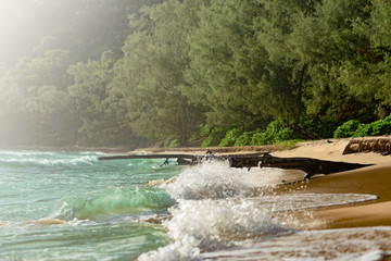 Lazy Beach with turquoise water. Waves are breaking on the shore. Tropical Island, Koh Rong Sanloem. Cambodia, asia.