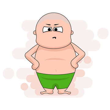 Vector cartoon character chunky man with mad and angry face