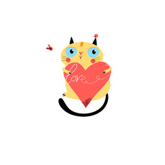 Vector in love cat with heart