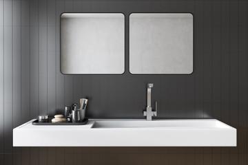 Black tiles bathroom sink interior