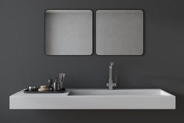 Black bathroom sink interior