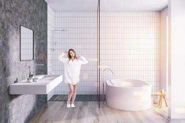 White tile bathroom interior toned