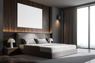 Dark wooden wall bedroom corner with poster