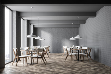 Gray brick modern cafe interior