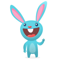 Rabbit or Easter Bunny cartoon character. Vector illustration