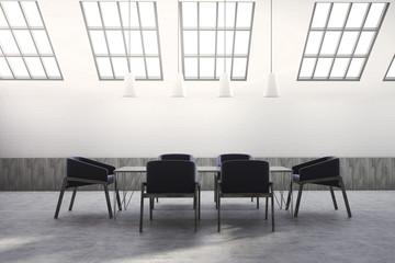 Attic meeting room interior, black chairs