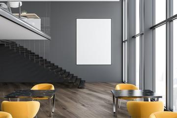 Gray loft modern cafe interior, poster