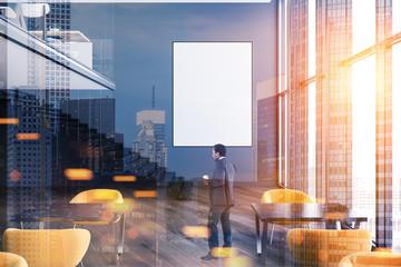 Gray loft modern cafe interior, poster, man