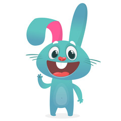 Cartoon Rabbit Character. Vector illustration. Easter. Isolated on white