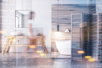 White and wooden bathroom toned