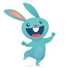 Cartoon cute rabbit  hoppig. Forest animals. Vector illustration