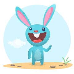 Happy bunny cartoon isolated on forest background. Vector illustration
