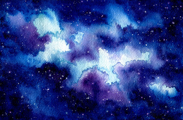 Watercolor Starry Sky and Clouds
