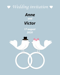 Wedding invitation template with a pair of birds,the bride and g