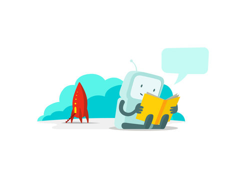 The robot has arrived on rocket and sits reading book. Instructions user guide. Error page not found. Flat color vector illustration